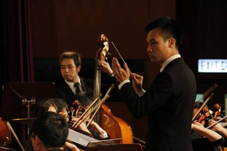 Conducting university orchestra